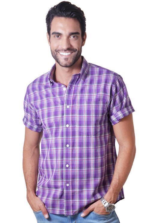 Camisa-casual-masculina-tradicional-algodao-fio-40-roxo-f05541a-5