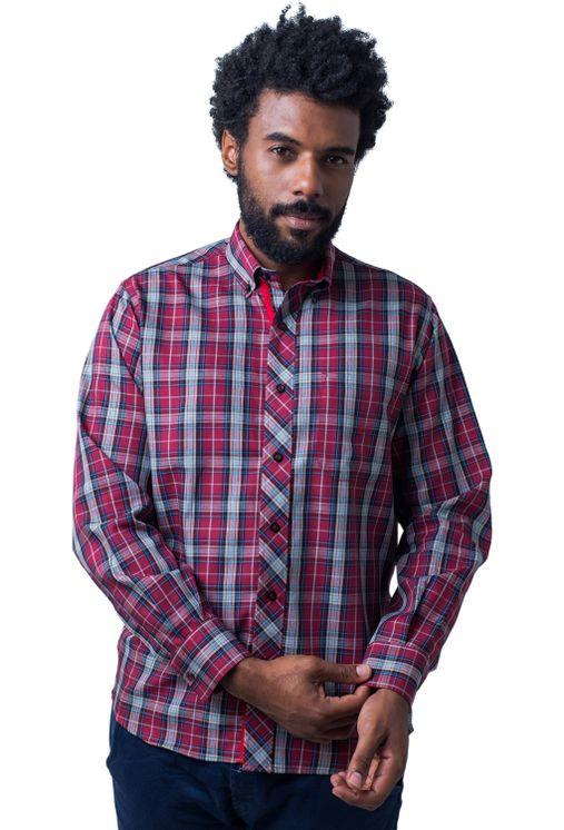 Camisa-casual-masculina-tradicional-algodao-fio-40-vermelho-f01830a-frente