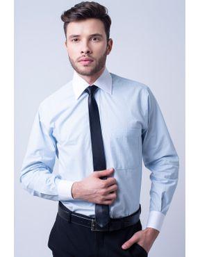 978289f574 Camisa social masculina tradicional algodão fio 50 azul claro f02782a 01 ...