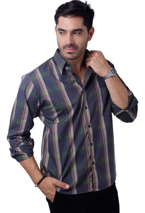 Camisa-casual-masculina-tradicional-algodi¿½o-fio-50-verde-f01668a-frente