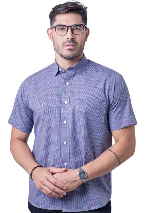 Camisa-casual-masculina-tradicional-algod-o-fio-50-vermelho-f04387a-frente