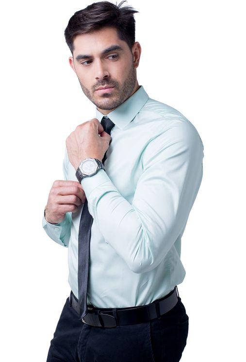 Camisa-social-masculina-slim-algodao-fio-80-verde-f05425s-1