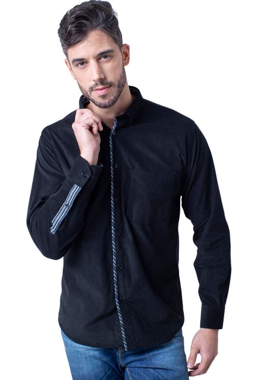 Camisa-casual-masculina-tradicional-veludo-preto-f01529a-5