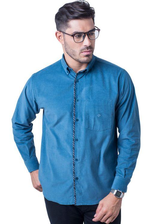 Camisa-casual-masculina-tradicional-veludo-azul-f01529a-frente