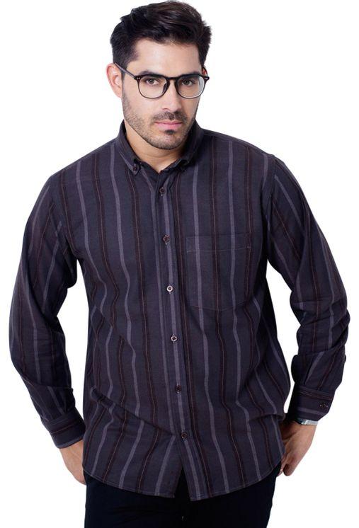 Camisa-casual-masculina-tradicional-flanela-marrom-f04521a-frente