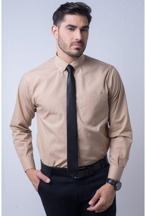 Camisa-social-masculina-tradicional-algodao-misto-bege-f09993a-1