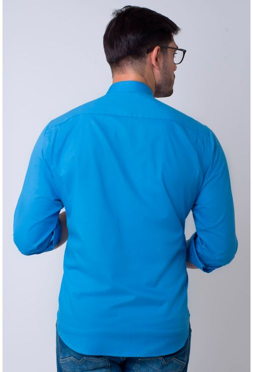 Camisa-casual-masculina-tradicional-algodao-fio-40-azul-medio-f02043a-2