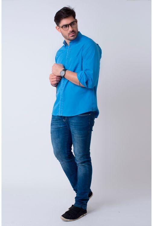 Camisa-casual-masculina-tradicional-algodao-fio-40-azul-medio-f02043a-4