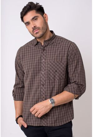 Camisa-casual-masculina-tradicional-microfibra-marrom-f01794a-1