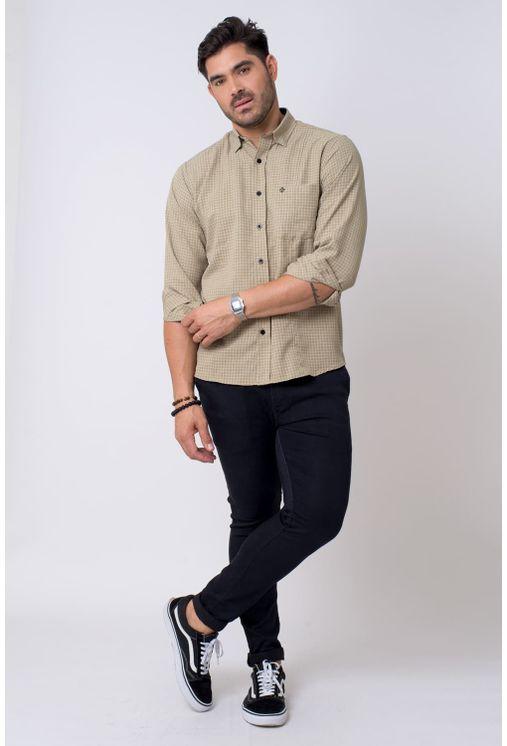Camisa-casual-masculina-tradicional-microfibra-bege-f01798a-4