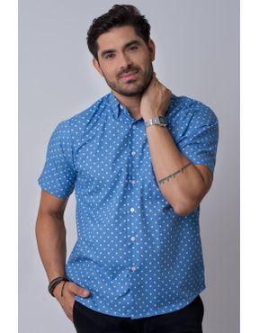 1202503943 Camisaria Fascynios Oficial · Camisa Casual Masculina · Algodão Misto. Camisa  casual masculina tradicional estampada azul claro f02176a 01 ...