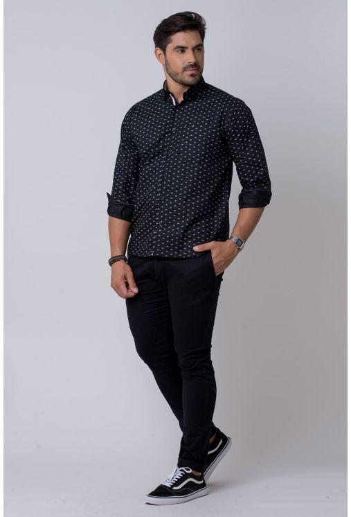 Camisa-casual-masculina-tradicional-algodao-misto-preto-f02145a-4