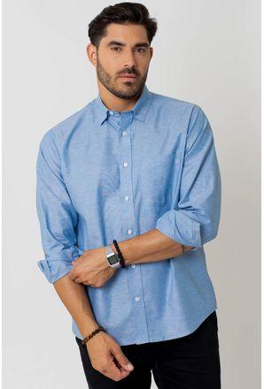 Camisa-casual-masculina-tradicional-algodao-fio-40-azul-medio-f02090a-1