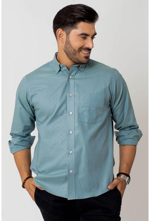 Camisa-casual-masculina-tradicional-algodao-fio-40-verde-f02090a-1