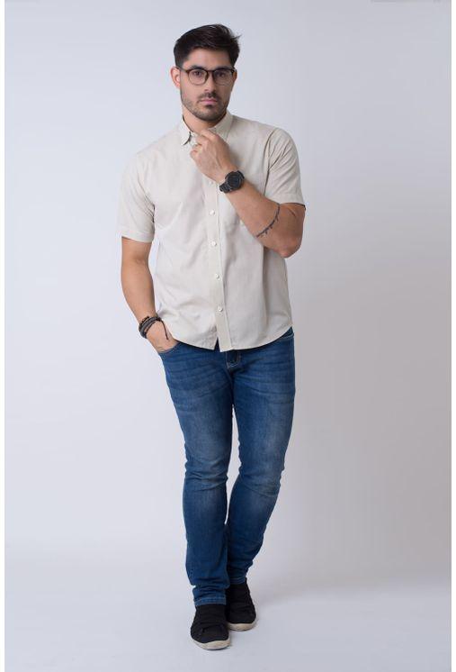 Camisa-casual-masculina-tradicional-algodao-fio-50-bege-f07386a-1