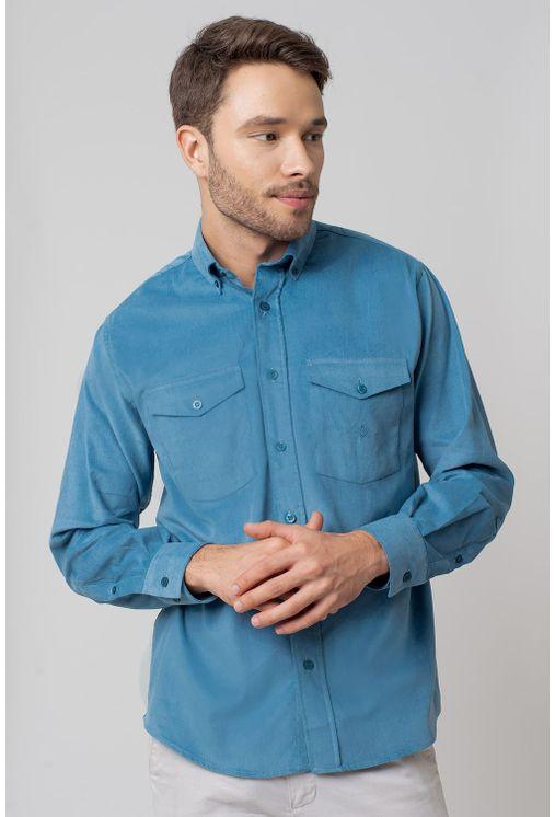 ff29b8da94 Camisa casual masculina tradicional veludo azul f02033a - Camisaria ...