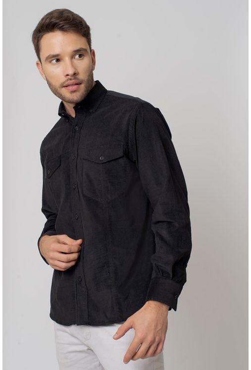 Camisa-casual-masculina-tradicional-veludo-preto-f02031a-1