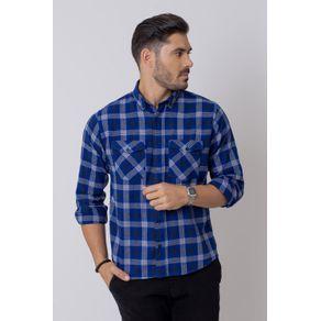 Camisa-Casual-Masculina-Tradicional-Flanela-Azul-Escuro-08206-01