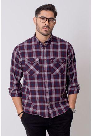Camisa-Casual-Masculina-Tradicional-Flanela-Bordo-08206-01