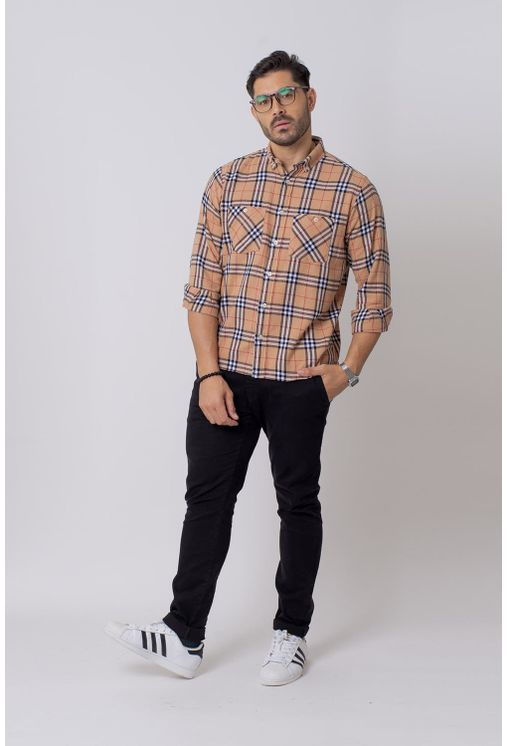 Camisa-Casual-Masculina-Tradicional-Flanela-Laranja-08207-01