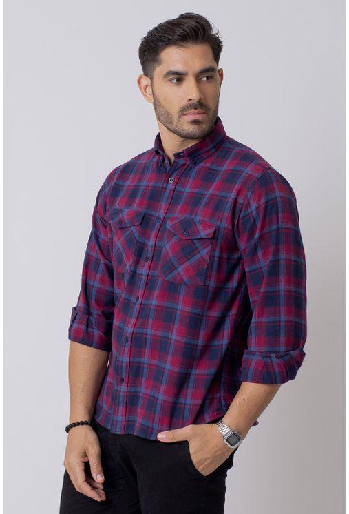Camisa-Casual-Masculina-Tradicional-Flanela-Vermelho-08209-01