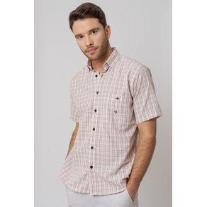 Camisa-Casual-Masculina-Tradicional-Microfibra-Bege-07966-01