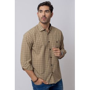 Camisa-Casual-Masculina-Tradicional-Microfibra-Bege-07965-03