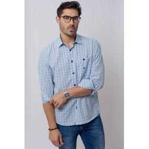 Camisa-Casual-Masculina-Tradicional-Microfibra-Azul-Claro-07965-01