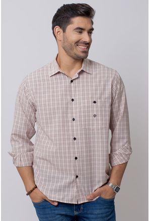 Camisa-Casual-Masculina-Tradicional-Microfibra-Bege-07965-04