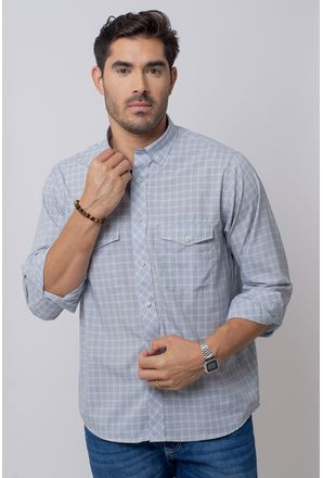 Camisa-Casual-Masculina-Tradicional-Microfibra-Cinza-08025-04