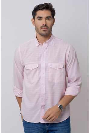 Camisa-Casual-Masculina-Tradicional-Microfibra-Rosa-08025-01