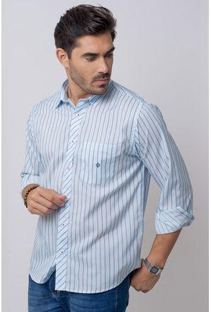Camisa-Casual-Masculina-Tradicional-Microfibra-Azul-Claro-08021-04