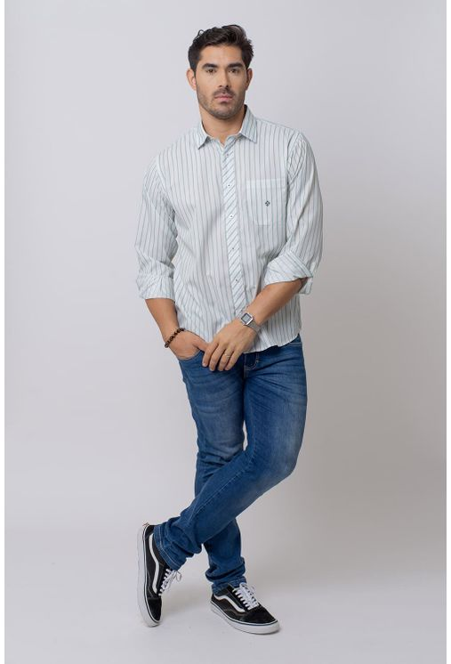 Camisa-Casual-Masculina-Tradicional-Microfibra-Verde-08021-01