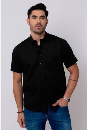 Camisa-Casual-Masculina-Tradicional-Linho-Misto-Preto-05016-01