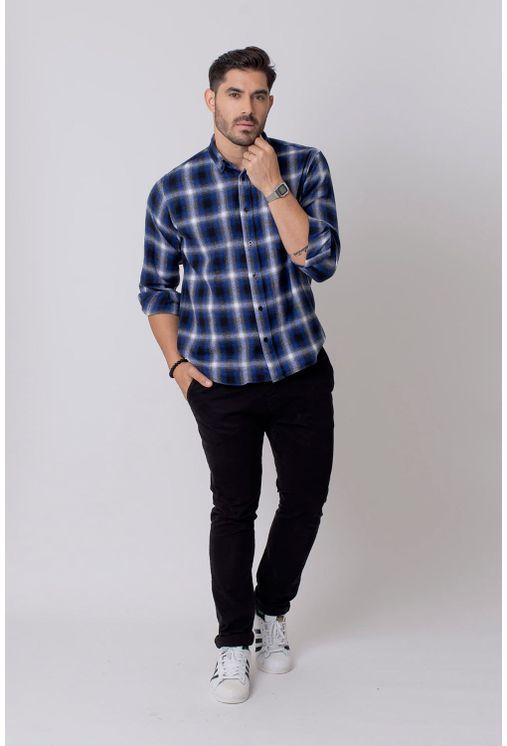 Camisa-Casual-Masculina-Tradicional-Flanela-Azul-Escuro-08214-01