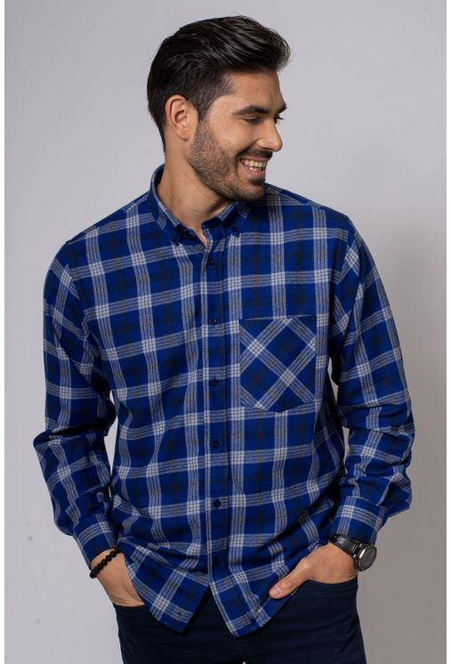 Camisa-Casual-Masculina-Tradicional-Flanela-Azul-Escuro-08377-01
