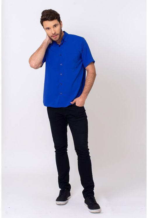Camisa-Casual-Masculina-Tradicional-Microfibra-Azul-Escuro-08392-01