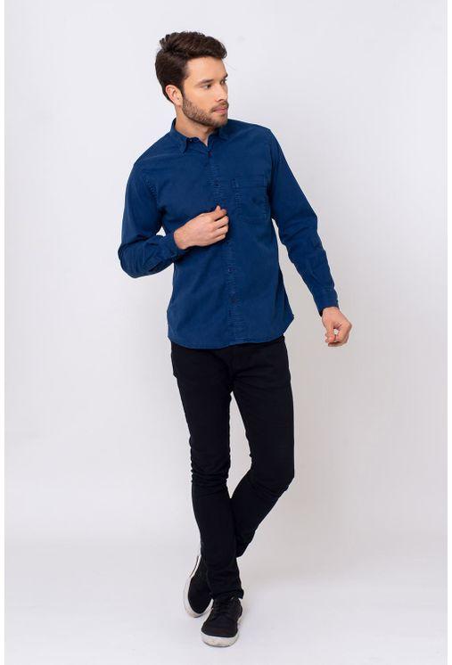 Camisa-Casual-Masculina-Tradicional-Tencel-Azul-08352-01
