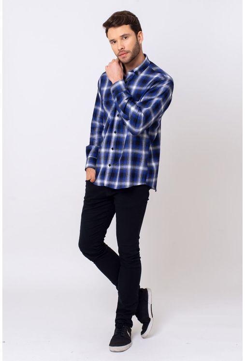 Camisa-Casual-Masculina-Tradicional-Flanela-Azul-Escuro-08375-01