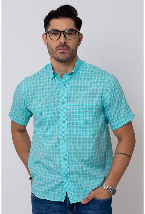 Camisa-Casual-Masculina-Tradicional-Microfibra-Verde-Claro-08027-01