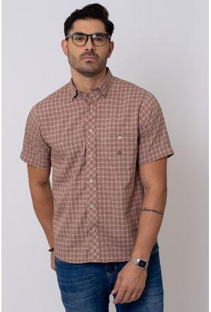 Camisa-Casual-Masculina-Tradicional-Microfibra-Marrom-08027-01