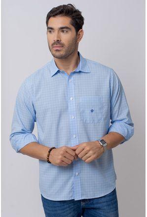 Camisa-Casual-Masculina-Tradicional-Microfibra-Azul-Medio-08029-01