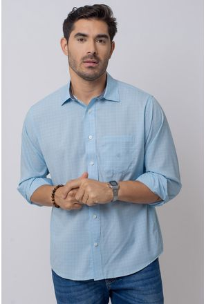 Camisa-Casual-Masculina-Tradicional-Microfibra-Azul-Claro-08029-01