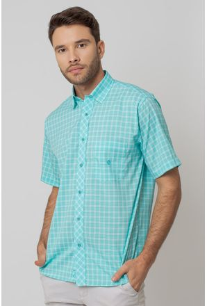 Camisa-Casual-Masculina-Tradicional-Microfibra-Verde-Claro-08028-07