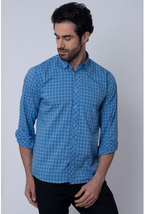 Camisa-Casual-Masculina-Tradicional-Microfibra-Azul-08026-01