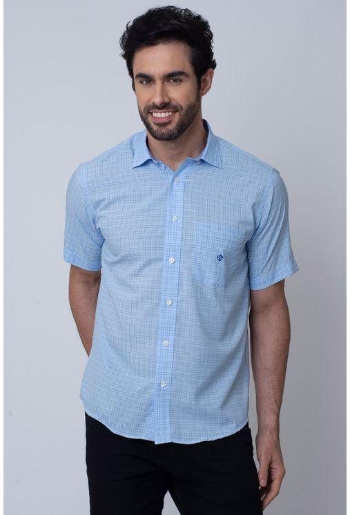 Camisa-Casual-Masculina-Tradicional-Microfibra-Azul-Medio-08031-01