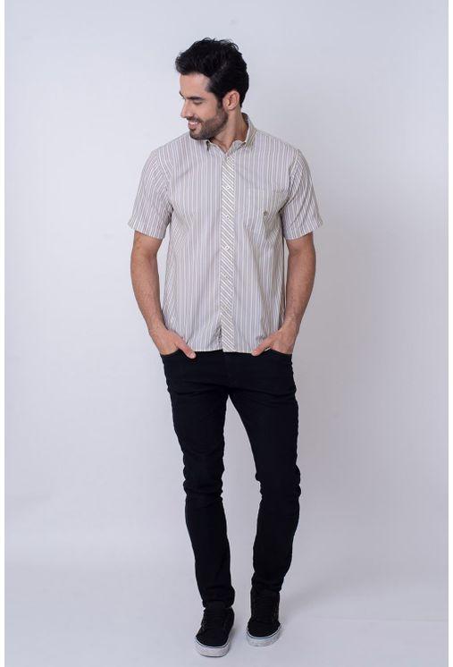Camisa-Casual-Masculina-Tradicional-Microfibra-Creme-08024-01