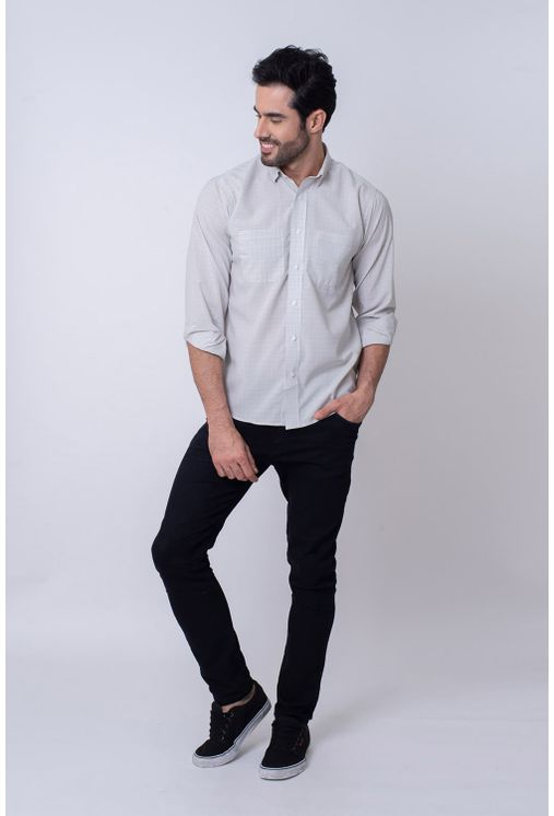 Camisa-Casual-Masculina-Tradicional-Microfibra-Cinza-08030-01