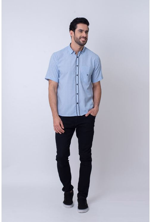 Camisa-Casual-Masculina-Tradicional-Microfibra-Azul-Claro-08034-01