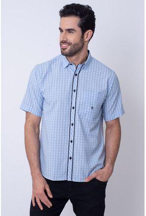 Camisa-Casual-Masculina-Tradicional-Microfibra-Azul-Claro-08034-03